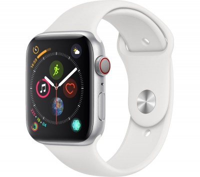 Save £140 at Currys on APPLE Watch Series 4 Cellular - Silver & White Sports Band, 44 mm, Silver