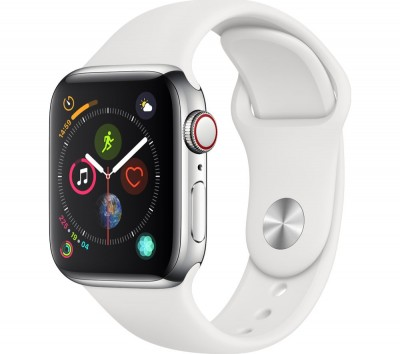Save £130 at Currys on APPLE Watch Series 4 Cellular - Silver & White Sports Band, 40 mm, Silver