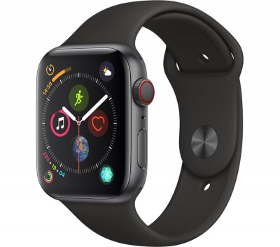 Save £140 at Currys on APPLE Watch Series 4 Cellular - Space Grey & Black Sports Band, 44 mm, Grey