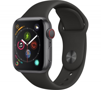 Save £180 at Currys on APPLE Watch Series 4 Cellular - Space Grey & Black Sports Band, 40 mm, Grey