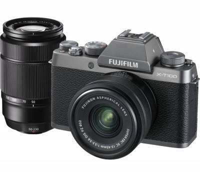 Save £200 at Currys on FUJIFILM X-T100 Mirrorless Camera with FUJINON XC 15-45 mm f/3.5-5.6 OIS PZ & XC 50-230 mm f/4.5-6.7 OIS II Lens - Dark Silver, Silver