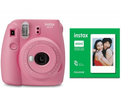 Save £15 at Currys on INSTAX mini 9 Instant Camera & Mini Film 50 Shot Bundle - Blush Rose, Pink