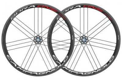 Save £318 at Evans Cycles on Campagnolo Bora One 35 Clincher Rim Brake 700c Road Wheelset - Shimano Freehub | Red/White - Carbon