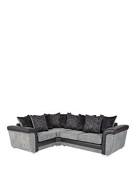 Save £200 at Very on Manhattan Fabric And Faux Snakeskin Left Hand Double Arm Scatter Back Corner Group Sofa