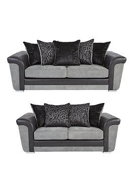 Save £186 at Very on Manhattan Fabric And Faux Snakeskin Scatter Back 3 + 2 Seater Sofa Set (Buy And Save!)