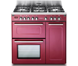 Save £300 at Currys on KENWOOD CK503VB 90 cm Dual Fuel Range Cooker - Burgundy & Stainless Steel