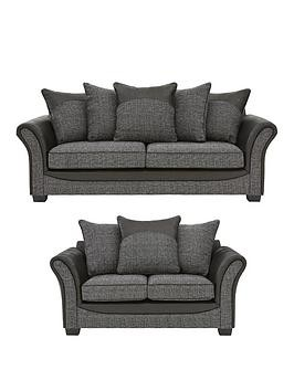 Save £352 at Very on Austin Fabric And Faux Snakeskin 3 Seater +2 Seater Scatter Back Sofa Set (Buy And Save!)