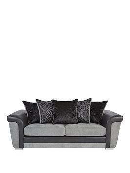 Save £100 at Very on Manhattan Fabric And Faux Snakeskin Scatter Back 3 Seater Sofa