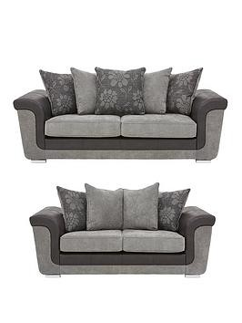Save £186 at Very on Vidal Fabric And Faux Snakeskin 3 + 2 Seater Scatter Back Sofa Set (Buy And Save!)