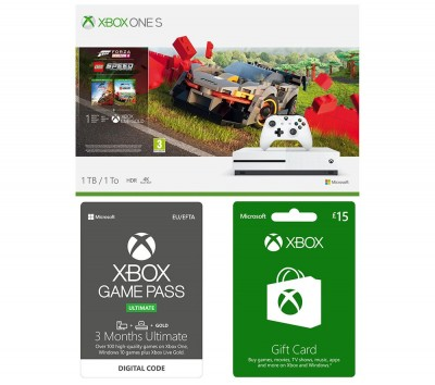 Save £35 at Currys on MICROSOFT Xbox One S, Forza Horizon, LEGO Speed Champions, Xbox Live £15 Gift Card & Xbox One Game Pass Bundle, Gold
