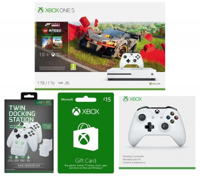 Save £40 at Currys on MICROSOFT Xbox One S, Forza Horizon, LEGO Speed Champions, Xbox Live £15 Gift Card, Docking Station & Wireless Controller Bundle