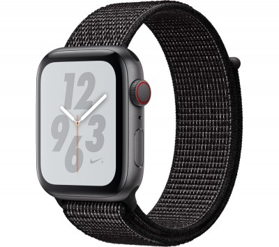 Save £60 at Currys on APPLE Watch Series 4 Cellular - Space Grey with Black Nike Sports Band, 44 mm, Grey