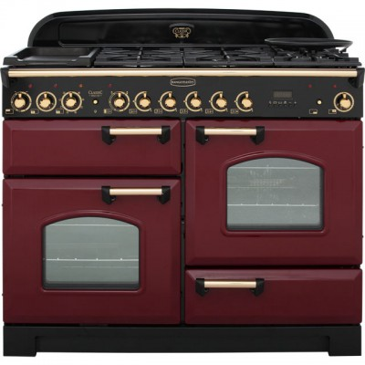 Save £239 at AO on Rangemaster Classic Deluxe CDL110DFFCY/B 110cm Dual Fuel Range Cooker - Cranberry / Brass - A/A Rated