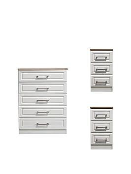 Save £33 at Very on Swift Regent Ready Assembled 3 Piece Package - 5 Drawer Chest And 2 Bedside Chests