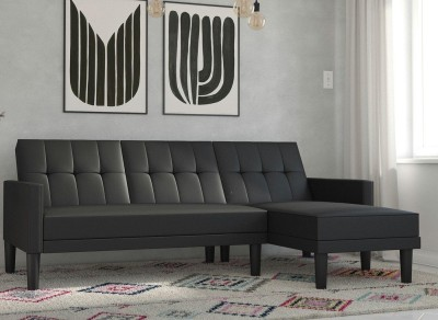 Save £170 at Dreams on Valentina 3 Seater Faux Leather Corner Sofa Bed - Black