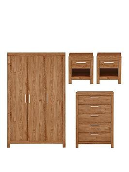 Save £35 at Very on Cuba 4 Piece Package - 3 Door Wardrobe, 5 Drawer Chest And 2 Bedside Chests