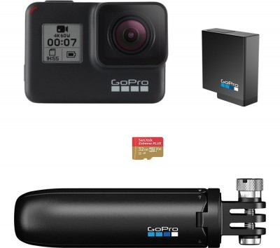 Save £50 at Currys on GoPro HERO7 Black Action Camera with Shorty Mount, Extra Battery & microSD Card Bundle, Black