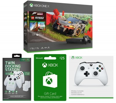Save £89 at Currys on MICROSOFT Xbox One X, Forza Horizon 4, LEGO Speed Champions, Wireless Controller, Twin Docking Station & Xbox Live Gift Card Bundle