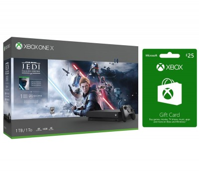 Save £90 at Currys on MICROSOFT Xbox One X, Star Wars Jedi: Fallen Order Deluxe Edition & Xbox Live £25 Gift Card Bundle