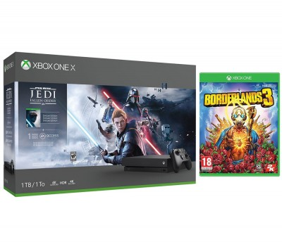 Save £90 at Currys on MICROSOFT Xbox One X, Star Wars Jedi: Fallen Order Deluxe Edition & Borderlands 3 Bundle