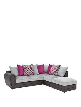 Save £80 at Very on Moreno Faux Snakeskin And Fabric Right Hand Corner Chaise Scatter Back Sofa + Footstool
