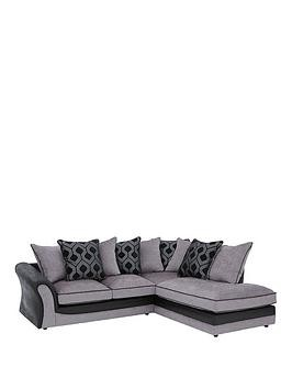 Save £75 at Very on Milan Faux Leather And Fabric Right Hand Corner Chaise Scatter Back Sofa
