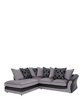 Save £75 at Very on Milan Faux Leather And Fabric Left Hand Corner Chaise Scatter Back Sofa