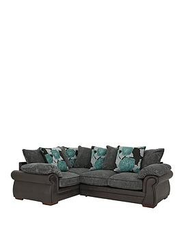 Save £80 at Very on Andorra Fabric And Faux Leather Left Hand Double Arm Scatter Back Corner Group Sofa