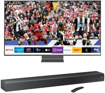 "Save £300 at Currys on 55"" SAMSUNG QE55Q90RATXXU Smart 4K Ultra HD HDR QLED TV with Bixby & Sound+ HW-MS550 2.1 All-in-One Sound Bar Bundle, Blue"