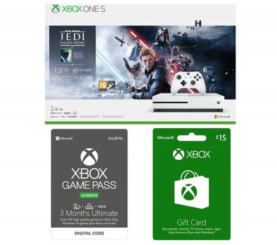 Save £39 at Currys on MICROSOFT Xbox One S with Star Wars Jedi: Fallen Order, £15 Xbox Live Gift Card & 3 Months Xbox One Game Pass Ultimate Bundle - 1 TB, Gold
