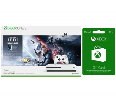 Save £44 at Currys on MICROSOFT Xbox One S with Star Wars Jedi: Fallen Order Deluxe Edition & £15 Xbox Live Gift Card Bundle - 1 TB