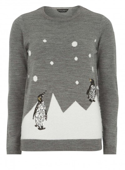 Grey Sequin Penguin Jumper