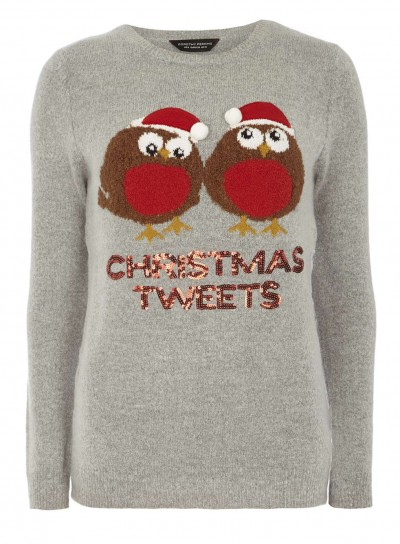 Grey Xmas Tweets Jumper