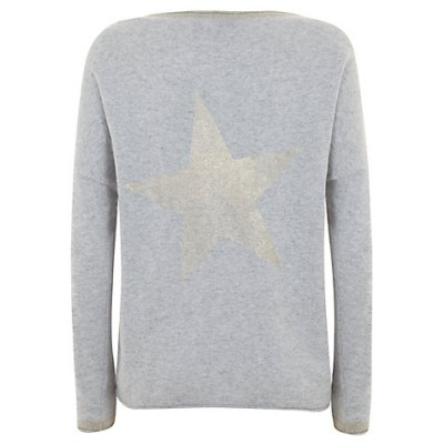 Mint Velvet Foil Star Knit Jumper, Grey