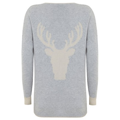 Mint Velvet Stag Back Knit Jumper, Grey