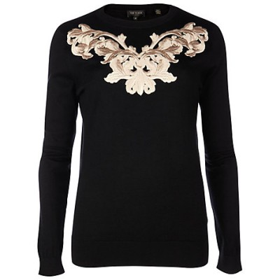 Ted Baker Slinda Metallic Embroidered Jumper, Black